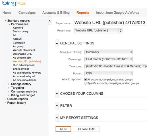 Bing Ads reporting tools