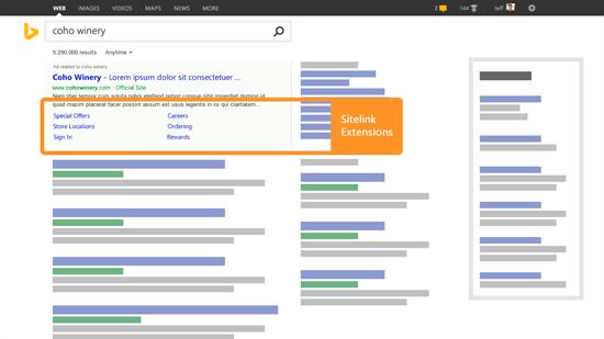 Bing Ads Sitelink Extensions