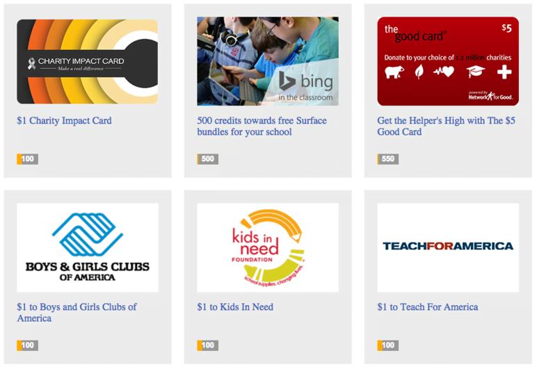 Bing Rewards donate to charity