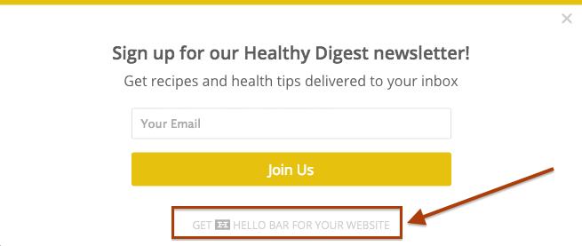Brand awareness newsletter signup
