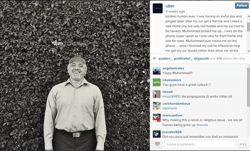 Brand marketing Uber Instagram post