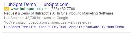 Brand marketing HubSpot's PPC ad