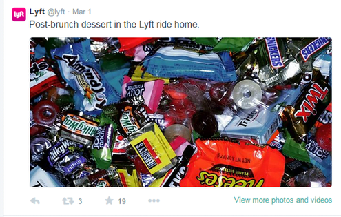 Brand marketing tweet from Lyft