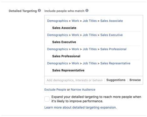 Facebook targeting examples