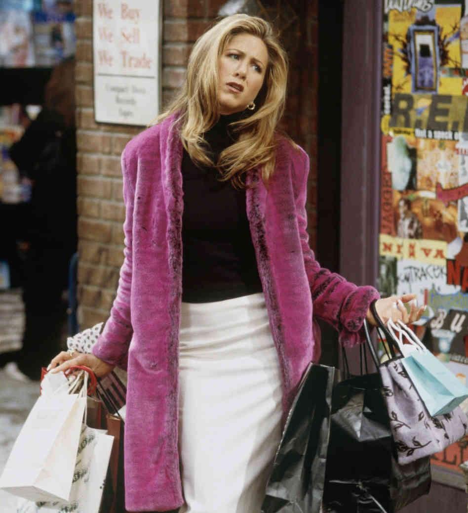 Buy button image of Rachel Green, Friends character, shopping