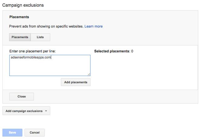 google adwords campaign exclusions