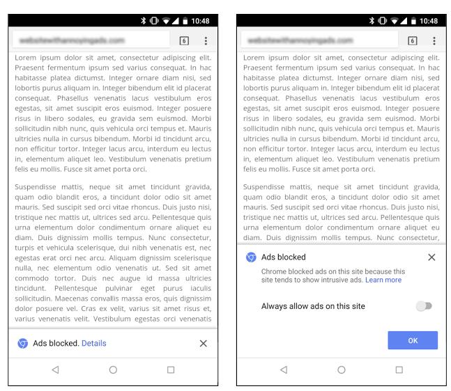 chrome ad blocker mobile display