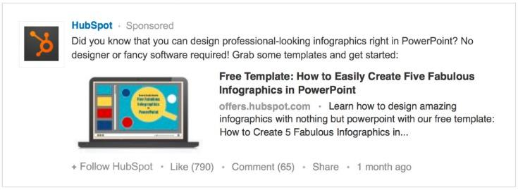 Combine PPC with social media LinkedIn Sponsored Updates example