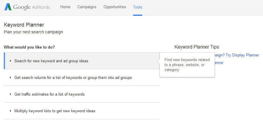 Commercial intent keywords AdWords keyword planner tool