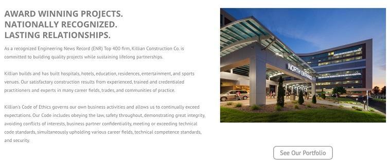 construction marketing website example with portfolio