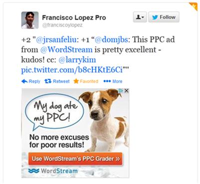 Content remarketing WordStream PPC ad