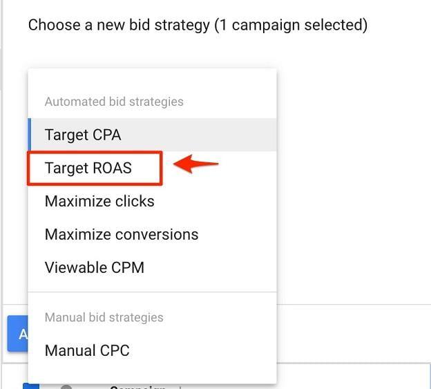 "select ""Target ROAS"" for bid strategy"