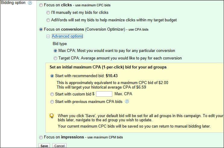 CPA bidding