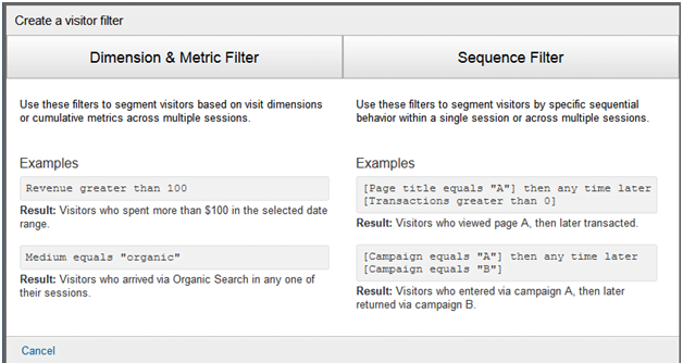 Google Analytics Visual Filter