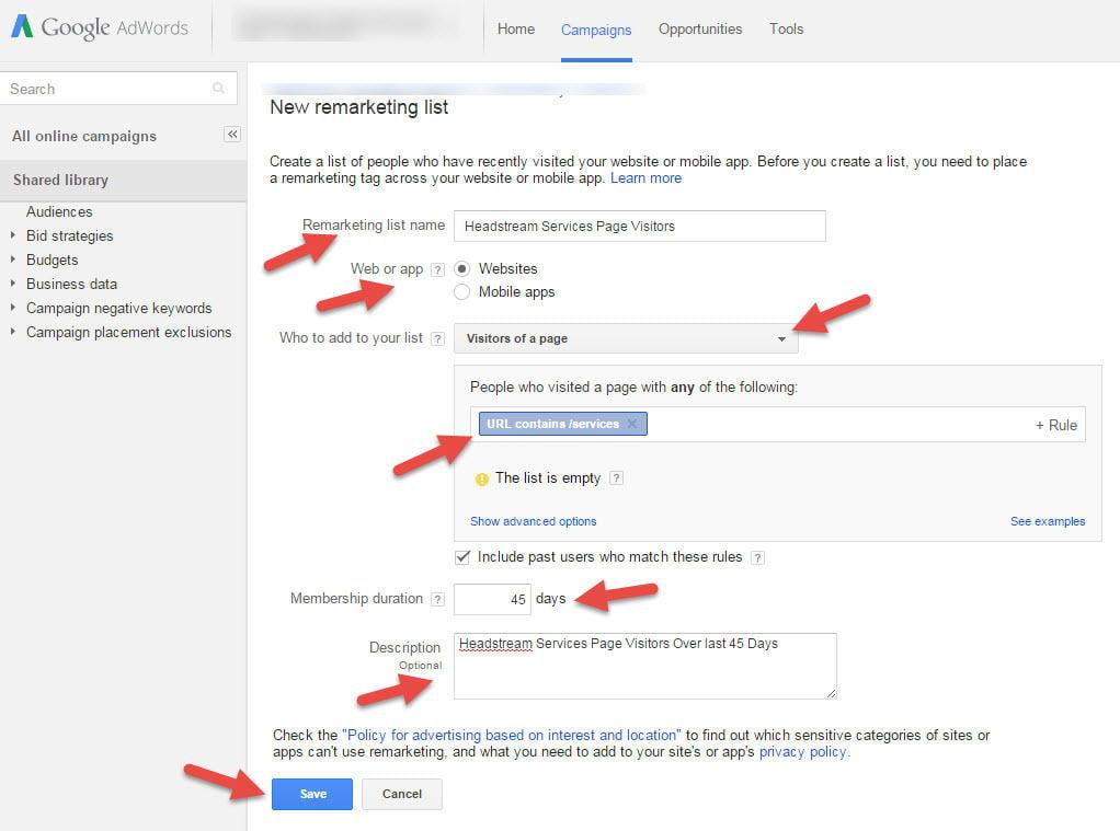 create remarketing list