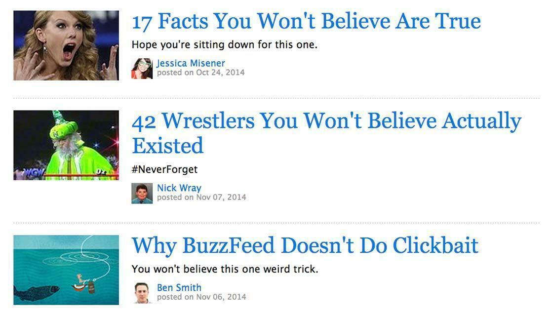 Curiosity gap clickbait headline examples BuzzFeed