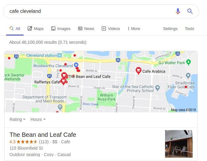 local cafe SERP example