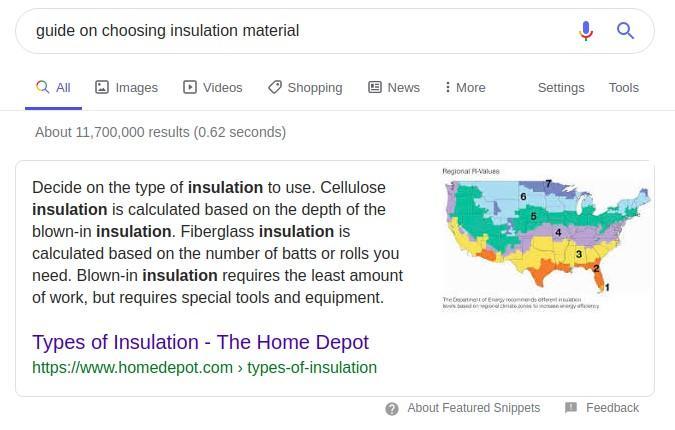 insulation SERP example