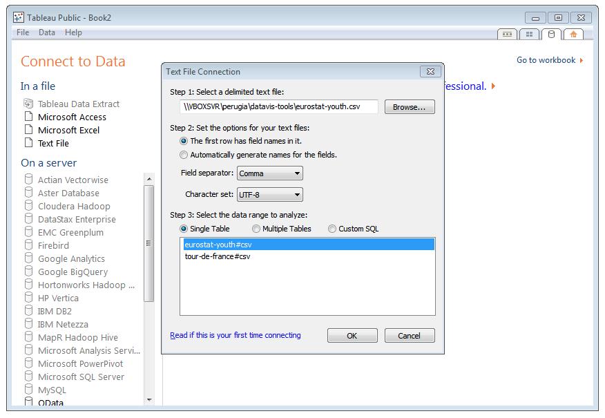 Data visualization tools Tableau Public CSV file import