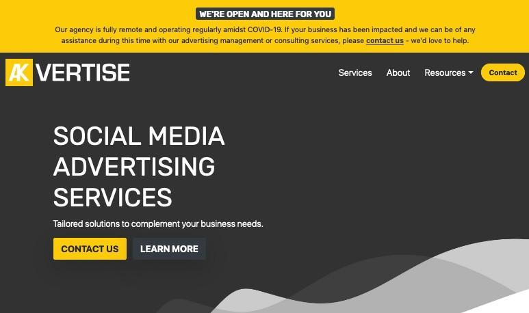 Akvertise website banner during COVID-19
