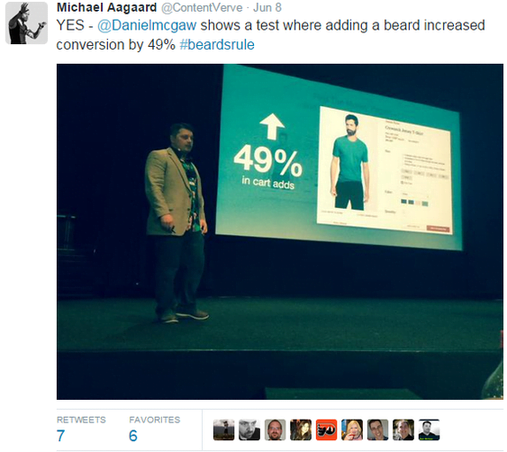 Digital marketing stats image of a tweet regarding the beard stat