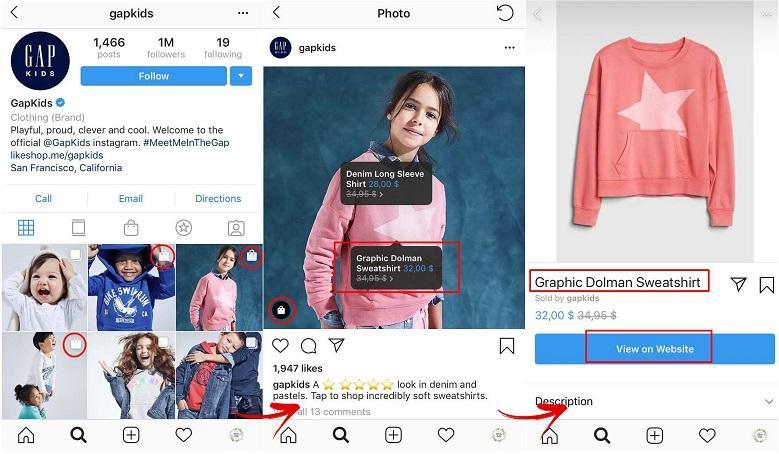 Instagram shopping example