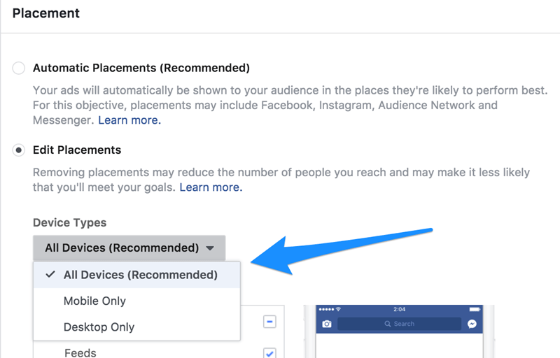edit facebook ad placement