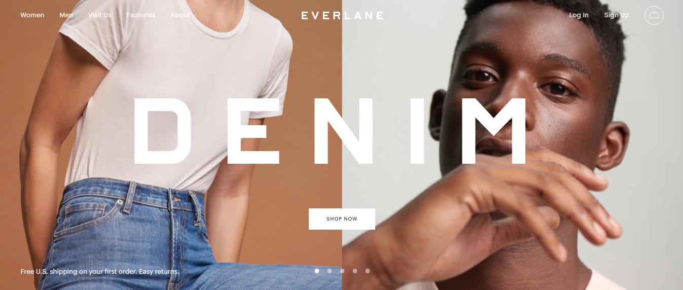Ethical marketing Everlane homepage