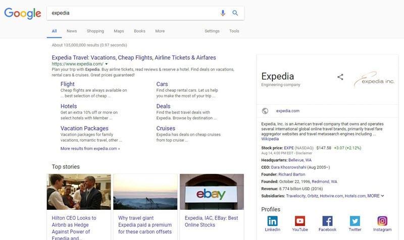 expedia mobile brand serp
