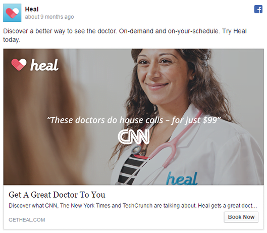 Facebook ad examples Heal app