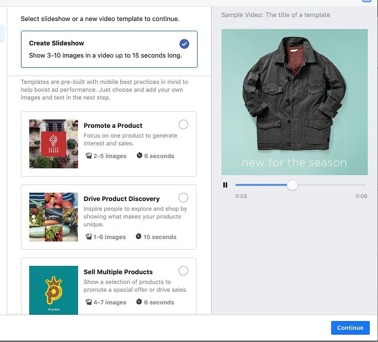 Facebook slideshow ad example