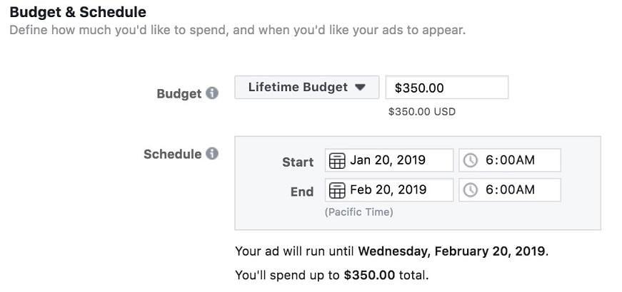 setting up lifetime budgets