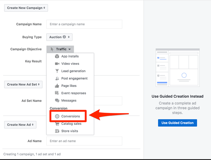 facebook campaign creation