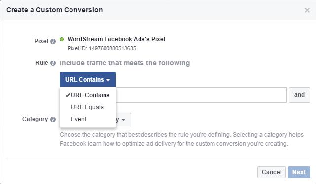 Facebook conversion tracking custom conversion URL contains