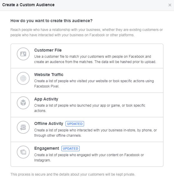 facebook custom audiences creation interface