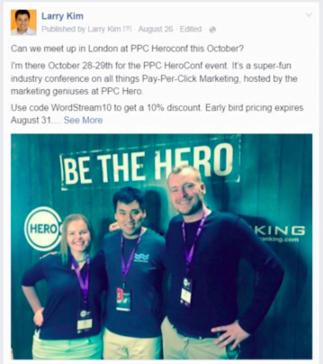 Facebook custom audiences Larry Kim conference ad