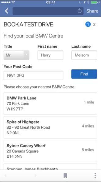 Facebook lead ad example BMW form