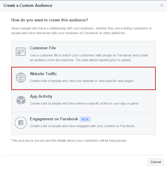 facebook nurture create custom audiences