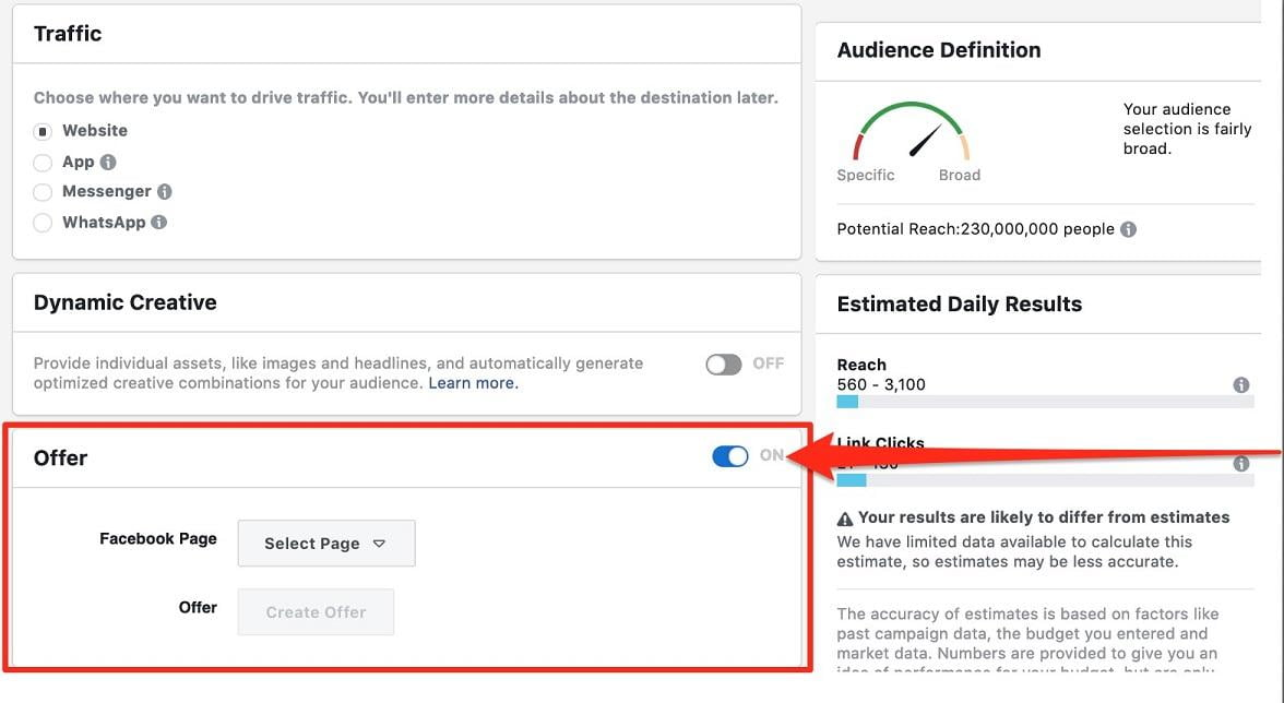 "Select ""On"" for Facebook Offer Ads"