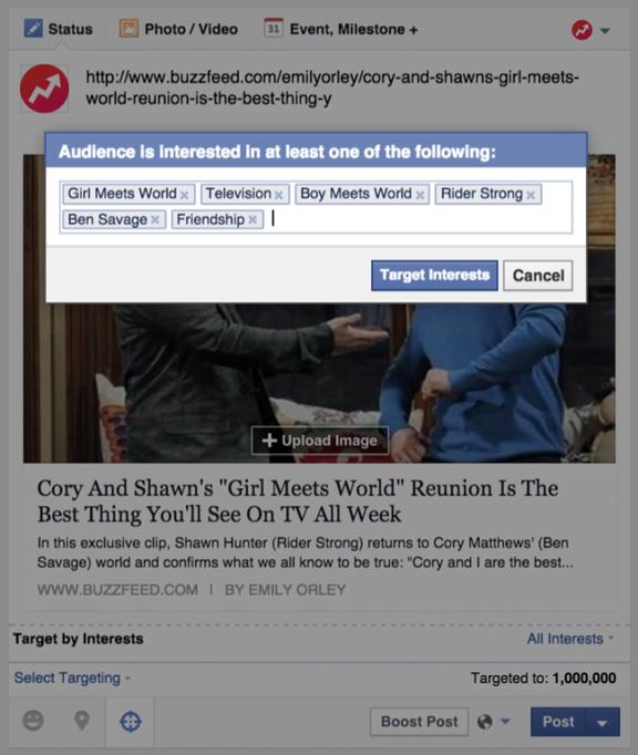 Facebook posts interest targeting