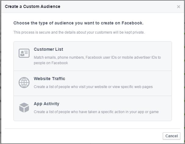 Facebook remarketing screenshot of creating a custom audience