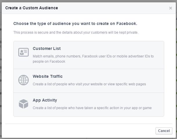 Facebook remarketing create a custom audience