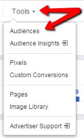 Facebook remarketing screenshot of the tools dropdown