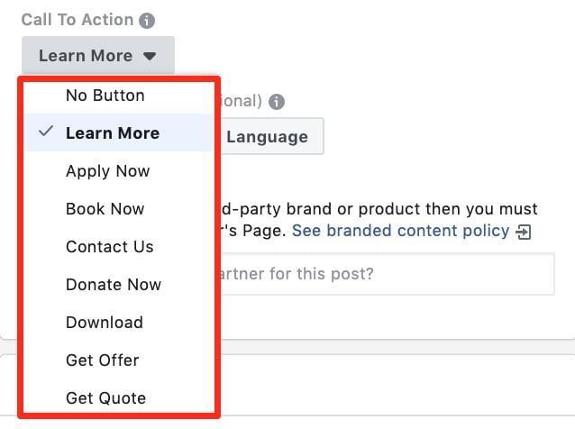 Facebook ad CTAs