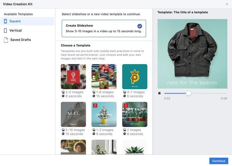 Facebook Slideshow Ad template