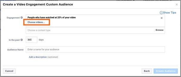 "Facebook video marketing ""choose videos"" option"