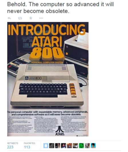 Get more retweets Atari obsolete ad