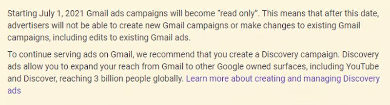 Gmail ads going away announcement
