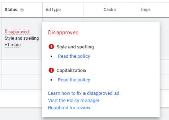 screenshot of google ads capitalization disapproval