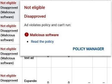 screenshot of malicious software google ad disapproval